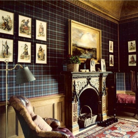 Tartan wallpaper and wood panelled living room idea