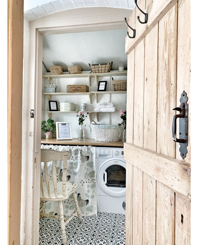 wooden cottage style interior door utility room kitchen