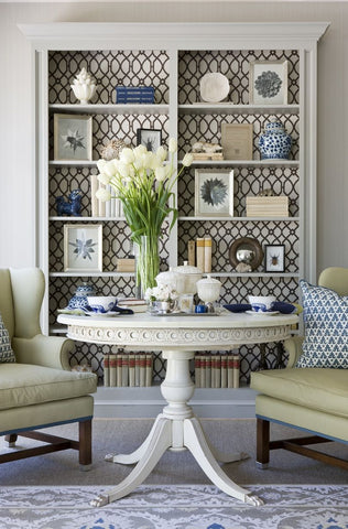 wallpaper bookcase upcycle inspiration