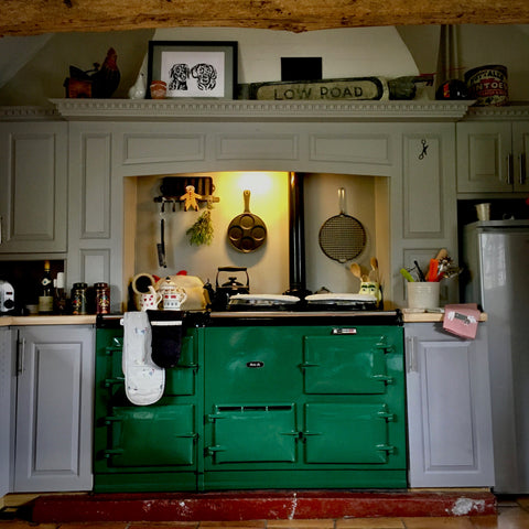 country kitchen with green Aga