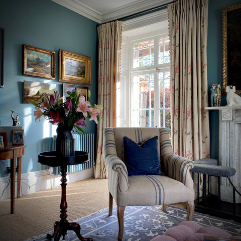 masculine drawing room with blues walls. de Nimes by Farrow & Ball,