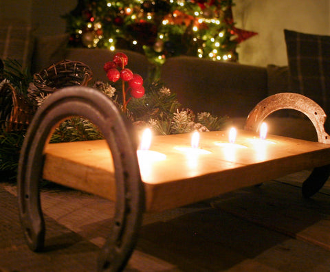 Horseshoe Candle Tray Holder at Christmas