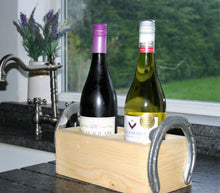 Load image into Gallery viewer, The Cheltenham Wood and Horseshoe Twin Wine Bottle Holder