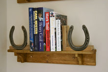 Load image into Gallery viewer, Image of Books On a Shelf With Wooden Bookends Decorated with Horseshoe