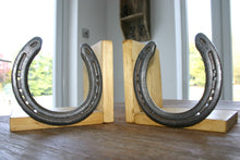 Load image into Gallery viewer, Wooden Book Ends with Horseshoe