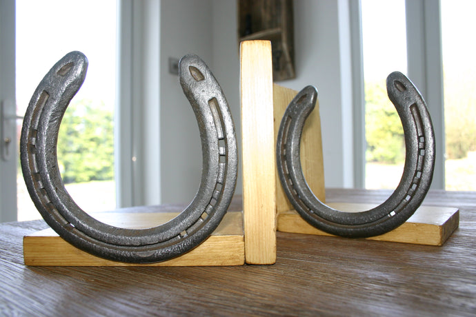 Horseshoe and Wood Pair of Bookends Medium Oak Finish