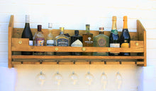 Load image into Gallery viewer, rustic wooden gin bar wine rack and bottle holder shelf
