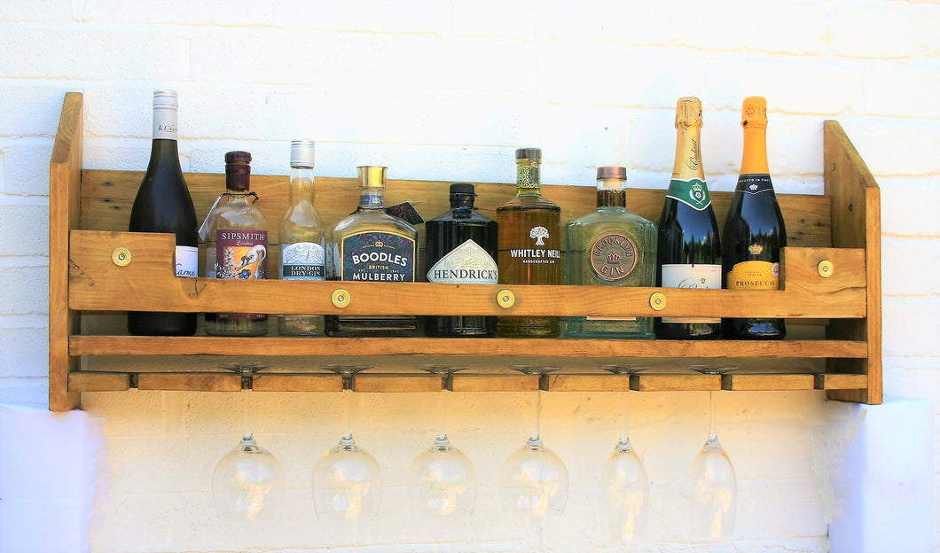 rustic wooden gin bar wine rack and bottle holder shelf