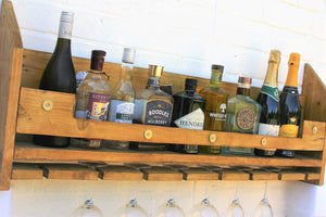 Shotgun cartrige theme wine bottle rack with glasses storage display shelf
