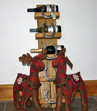 Load image into Gallery viewer, Burghley Horseshoe Wooden Wine Bottle Display Holder Stand
