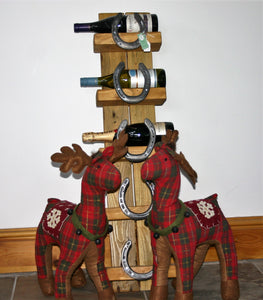 The Burghley Horseshoe Wooden Wine Bottle Display Holder Stand