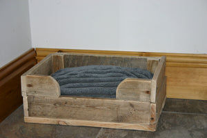 Image showing rustic wooden pet dog bed crate basket with cushion