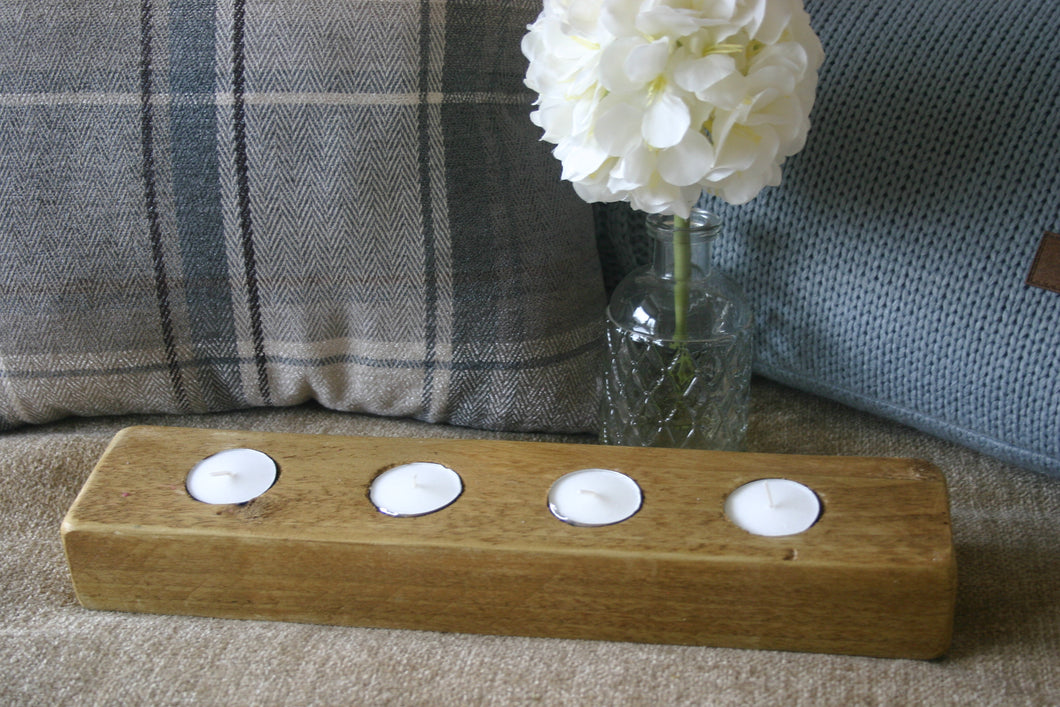Image of rustic natural wood tealight candle holder with 4 tealights