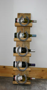 Picture of Rustic Wooden Drinks Bottle Display Stand with Horseshoes