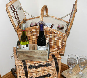 Image showing picnic display including wooden wine bottle display holder