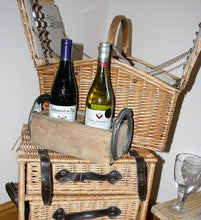 Load image into Gallery viewer, Image showing wooden twin wine bottle crate holder with horseshoe handles
