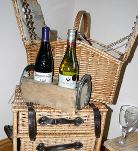Image showing wooden twin wine bottle crate holder with horseshoe handles