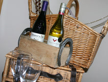 Load image into Gallery viewer, Image of wooden wine crate with picnic hamper