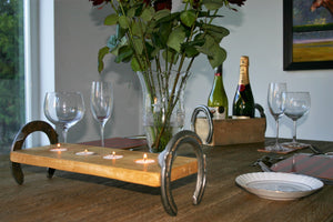 Image of Romantic Table Setting Including Rustic Twin Wine Bottle Holder and Tealight Candle Holder