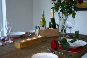 Image of wooden tealight candle holder romantic table setting