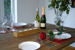 Image showing candle holder on dining table with red rose