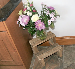 Small rustic wooden step stool