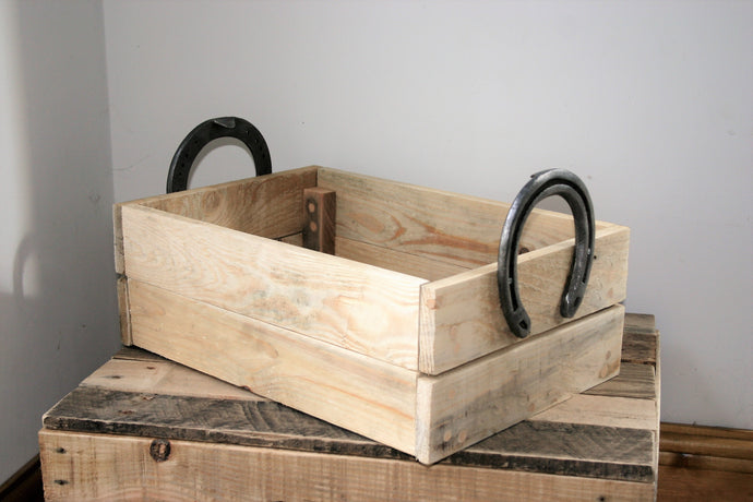 Rustic Horseshoe Handle Wooden Crate Basket