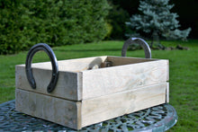 Load image into Gallery viewer, Rustic Horseshoe Handle Wooden Crate Basket