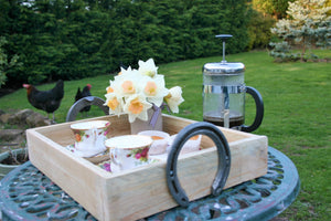 Coffee & Cake on a Wooden Horseshoe Handle Serving Tray in a Garden