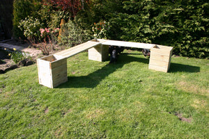 large garden bench planter corner combination