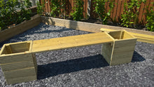 Load image into Gallery viewer, Large Wooden Garden Planter Tub Bench Seat Combination 2M Length