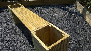 Large Wooden Garden Planter Tub Bench Seat Combination 2M Length