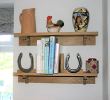 Load image into Gallery viewer, Reclaimed Horseshoe and Stained Wood Bookends