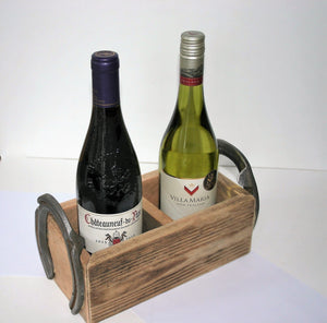 The Cheltenham Wood and Horseshoe Twin Wine Bottle Holder