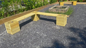 6 person garden bench seat with planters