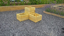 Load image into Gallery viewer, 3 piece wood corner garden planter set for plants flowers vegetable