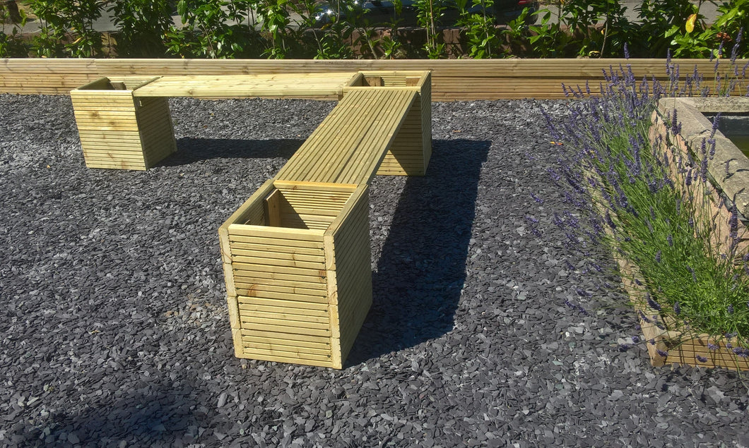 Large Wooden Garden Tub Planter and Bench Seating Corner Combination