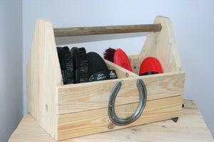 Wooden Grooming Kit Storage Tray with Horseshoe Decoration