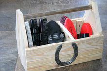 Load image into Gallery viewer, Wooden Grooming Kit Storage Tray with Horseshoe Decoration