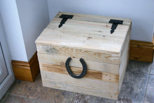 Load image into Gallery viewer, Wooden Home Storage Chest With Lid and Horseshoe Decoration