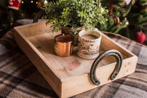 horseshoe handle wooden serving tray coffee mug