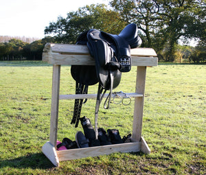Floor standing saddle rack mount