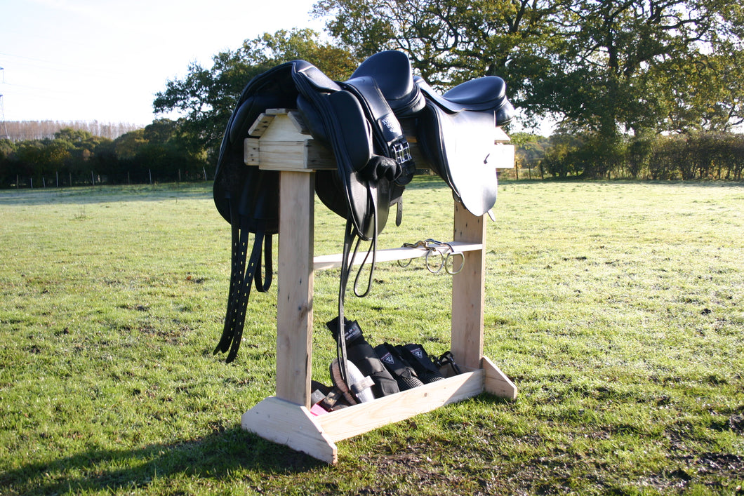 wooden saddle rack