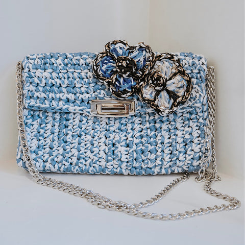 Raffia Flower Bag in Turquoise