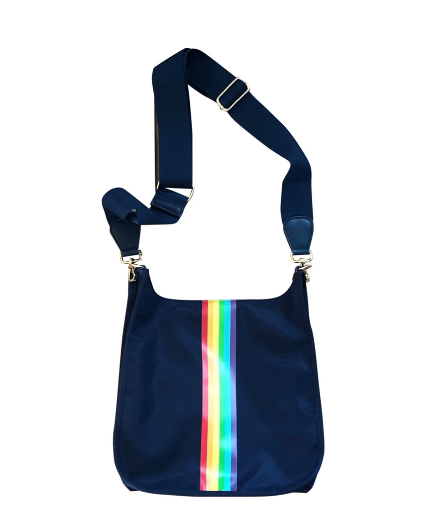 Navy Rainbow Messenger Bag