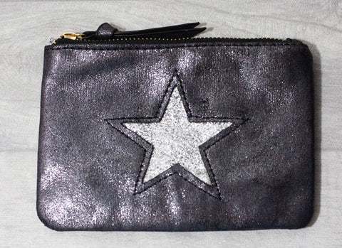 Large Star Coin Purse - Black & Silver