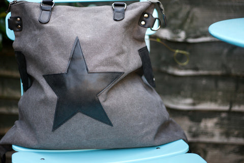 Large Star Canvas Bag - Grey