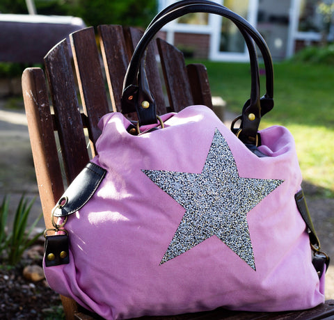 Large Crystal Encrusted Canvas Star Bag - Pink