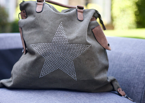 SECOND Large Stud Star Bag - Army Green