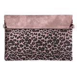 Contrasting Leopard Clutch / Shoulder Bag - Pink